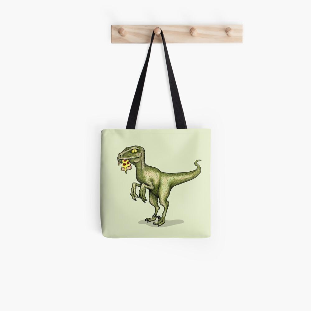 Raptor eating pizza Tote Bag