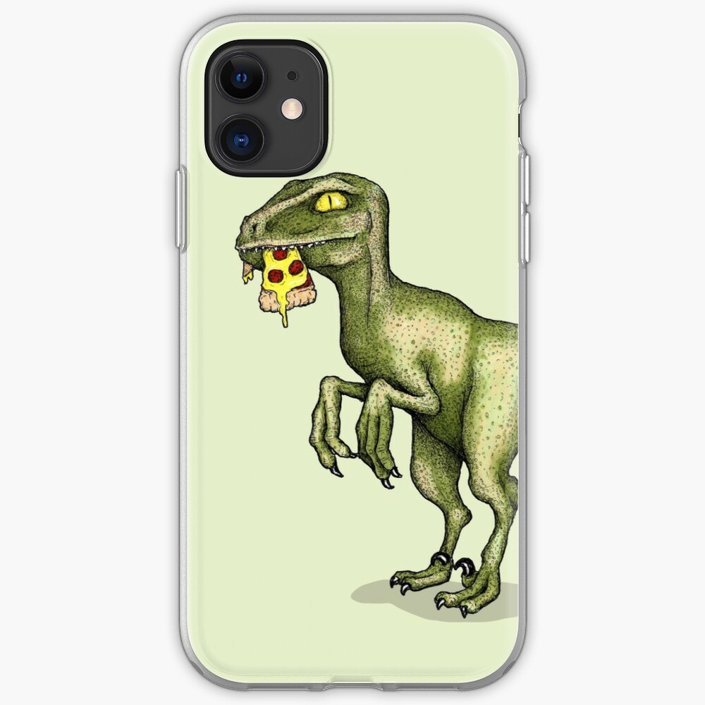 Raptor eating pizza iPhone Case & Cover
