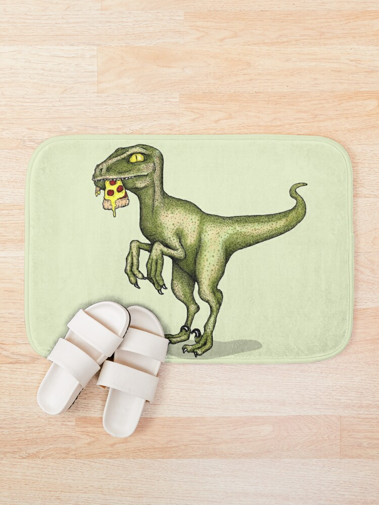 Alternate view of Raptor eating pizza Bath Mat