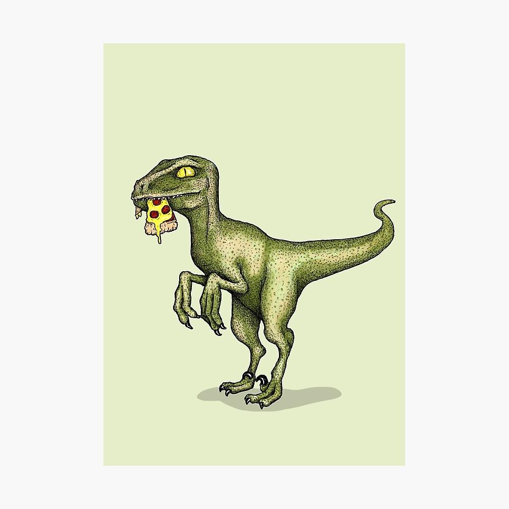Raptor eating pizza Photographic Print