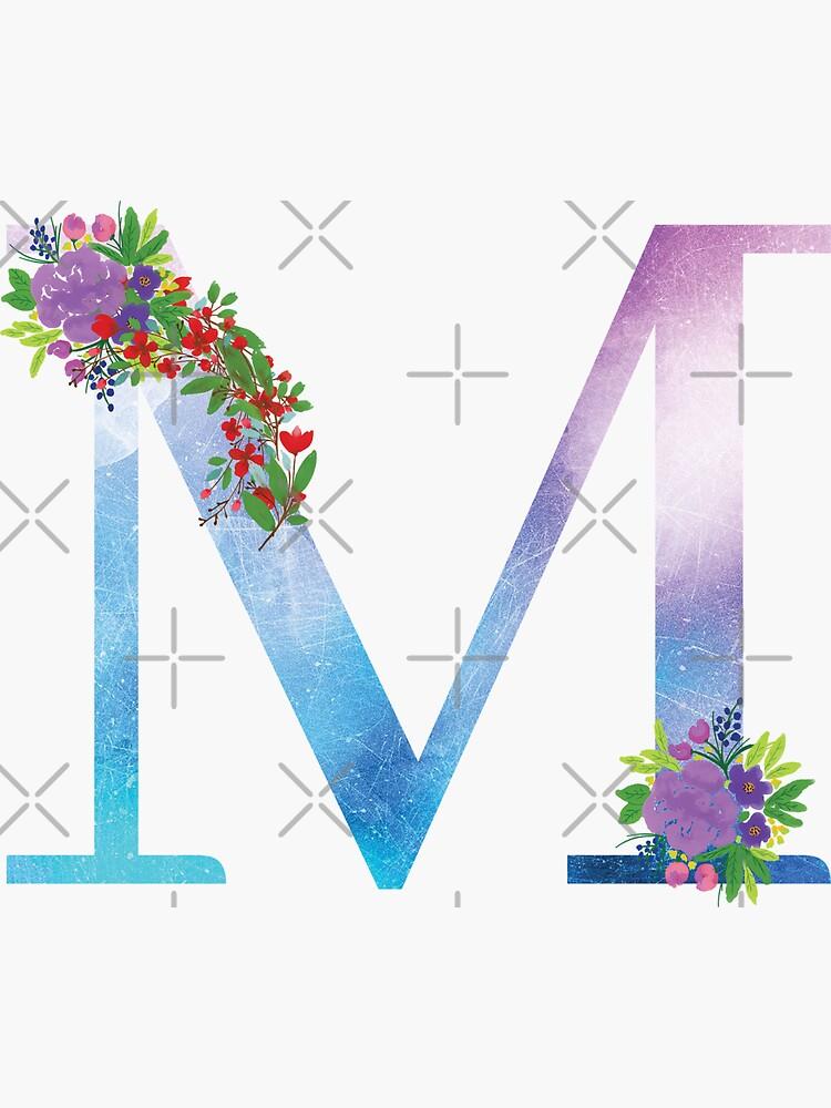Watercolor Floral Monogram Letter M by tribbledesign