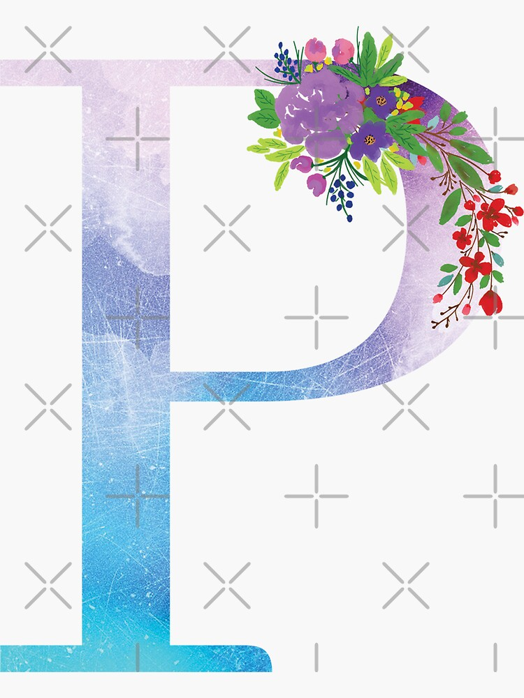 Watercolor Floral Monogram Letter P by tribbledesign