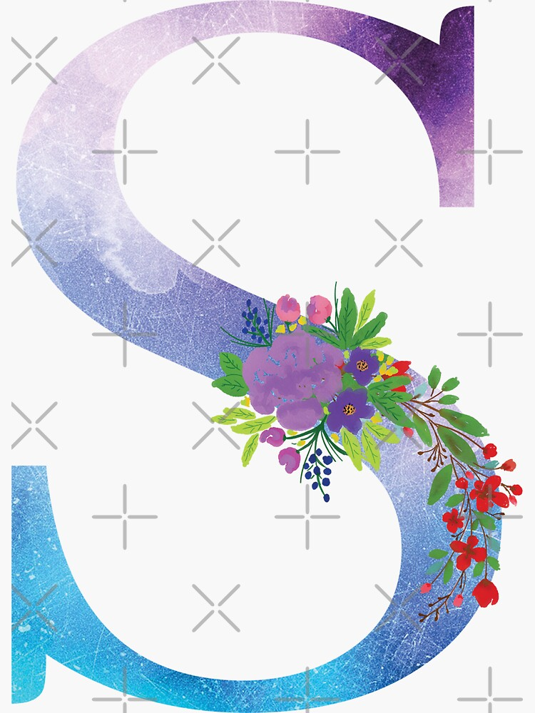 Watercolor Floral Monogram Letter S by tribbledesign