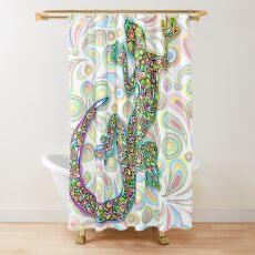 Gecko Lizard Psychedelic Fantasy Art Vector Illustration  Shower Curtain