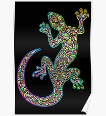 Gecko Lizard Psychedelic Fantasy Art Vector Illustration  Poster