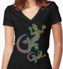 Gecko Lizard Psychedelic Fantasy Art Vector Illustration  Fitted V-Neck T-Shirt