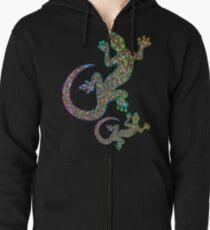 Gecko Lizard Psychedelic Fantasy Art Vector Illustration  Zipped Hoodie