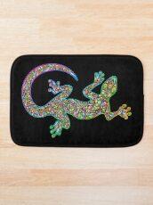 Gecko Lizard Psychedelic Fantasy Art Vector Illustration  Bath Mat