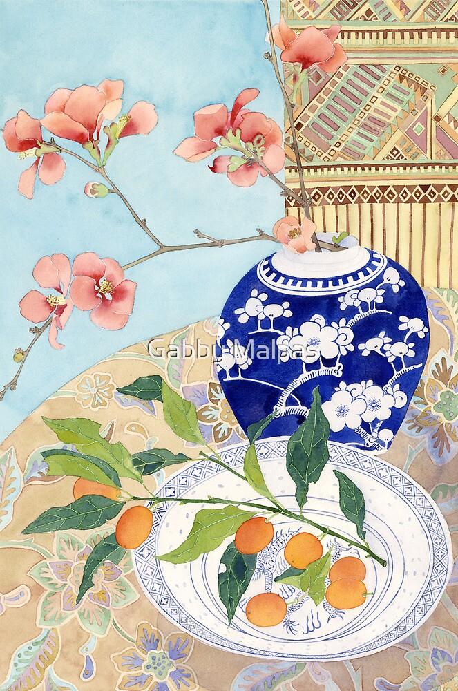 Japonicas and ceramic still life by Gabby Malpas