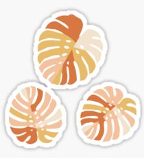 Color Block Monstera Leaves in Rust Sticker