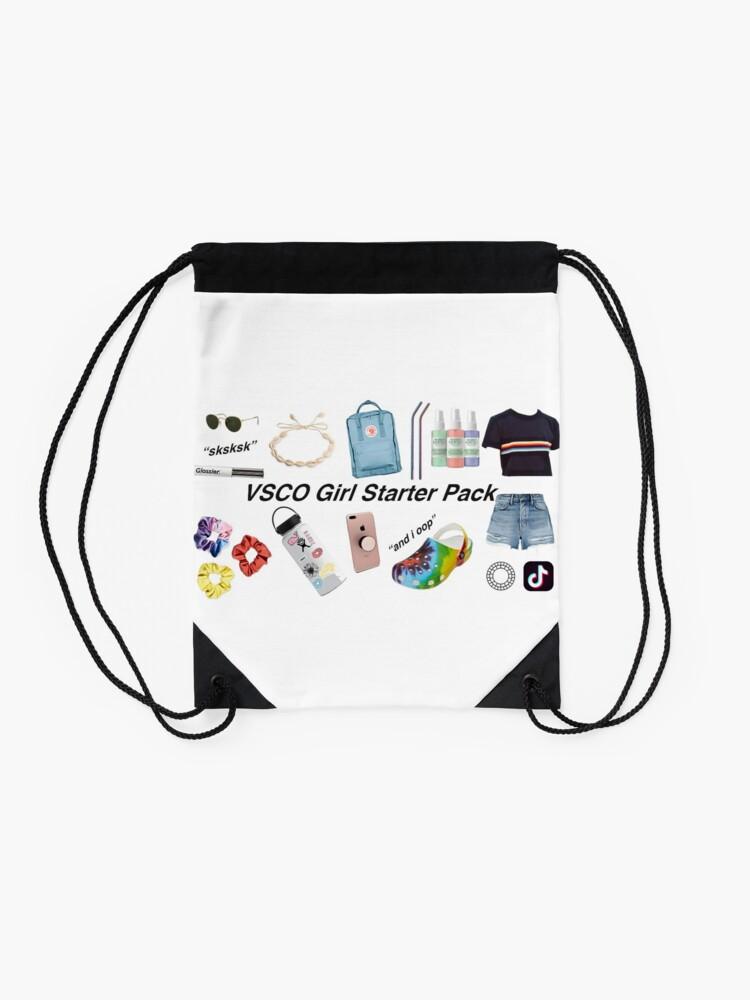 Alternate view of vsco girl starter pack Drawstring Bag