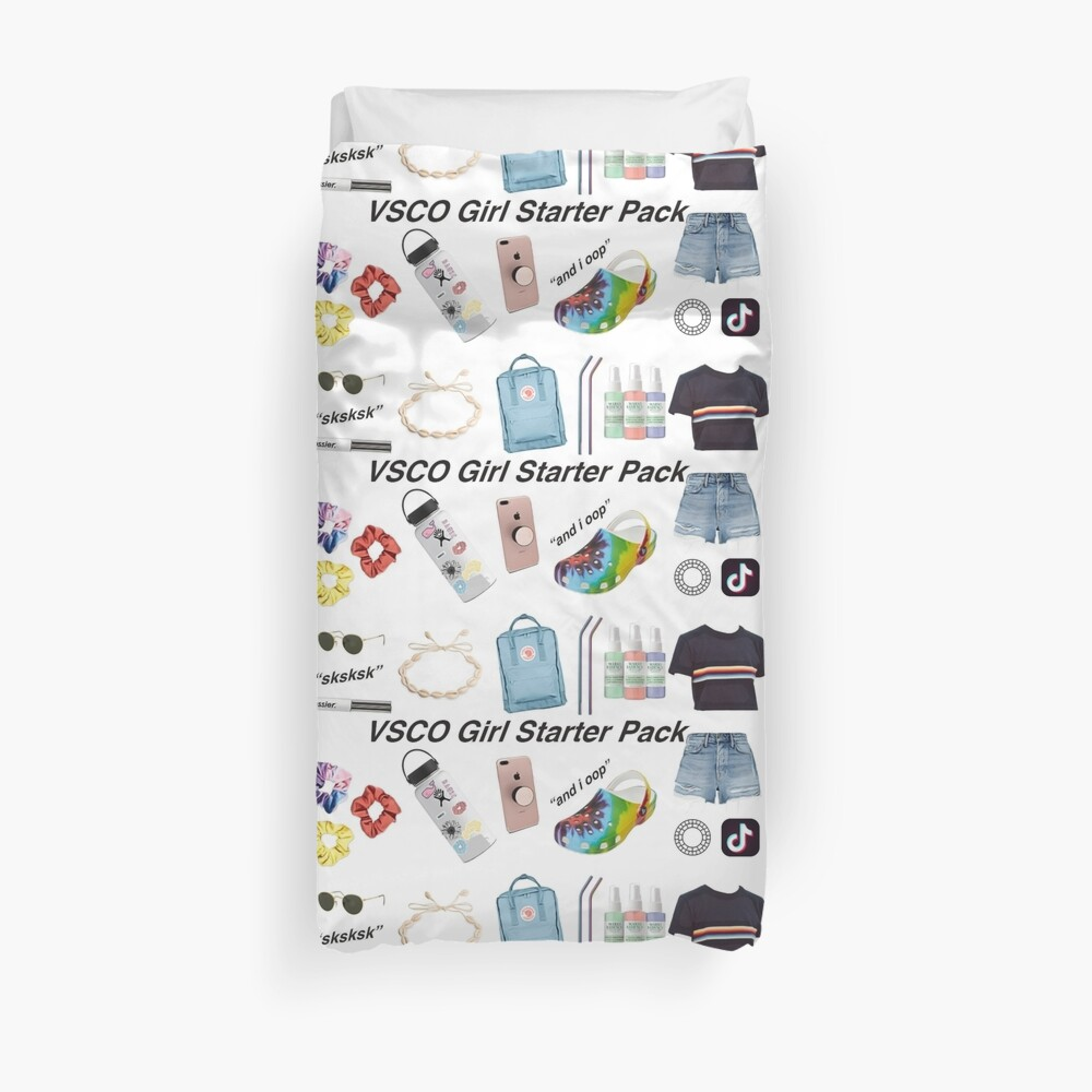 vsco girl starter pack, vsco girl packs Duvet Cover