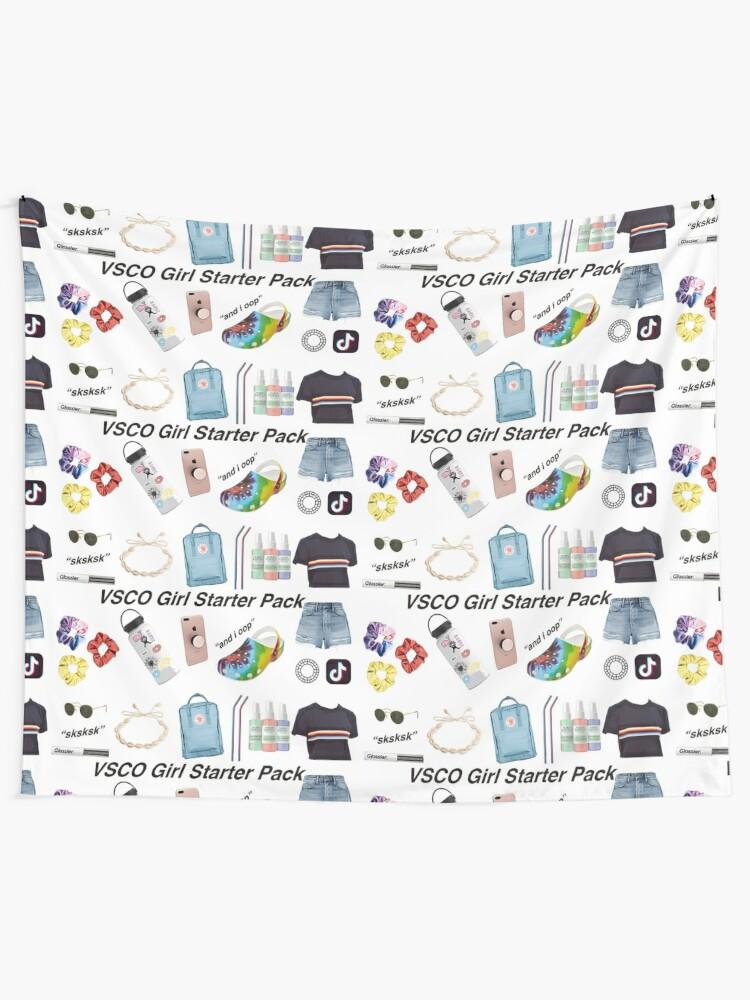Alternate view of vsco girl starter pack, vsco girl packs Tapestry