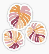 Color Block Monstera Leaves in Purple Sticker