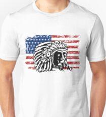 American Indian - USA Flag - Vintage Look Unisex T-Shirt
