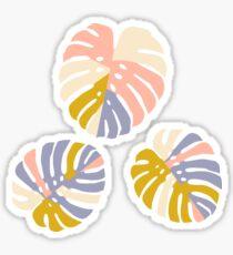 Color Block Monstera Leaves in Pink + Lavender Sticker
