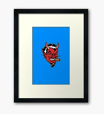 Retro devil head geek funny nerd Framed Print