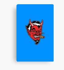 Retro devil head geek funny nerd Canvas Print