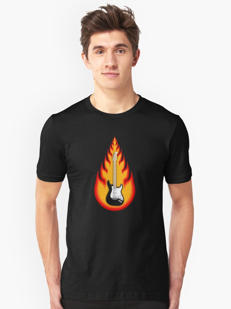 Guitar in Flames Unisex T-Shirt Front