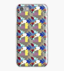 Vibrant Crystal Cluster Blue Burgundy on Yellow Stripe - Jenny Meehan  iPhone Case/Skin