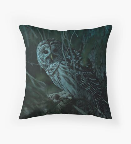 Barred Owl _ Pseudo Night shot Throw Pillow