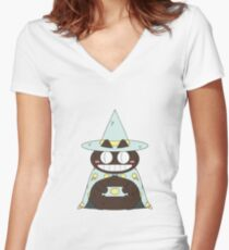 Ice Cream Cat Wizard Fitted V-Neck T-Shirt