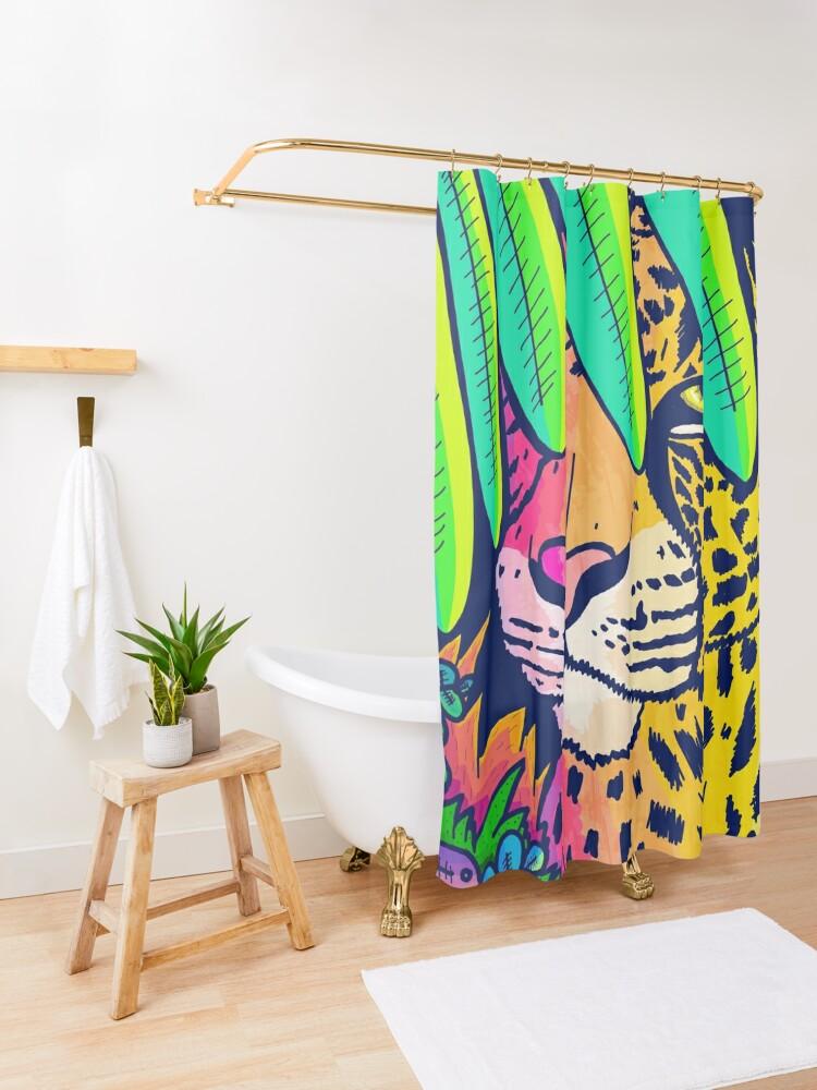 Alternate view of Jungle leopard Shower Curtain