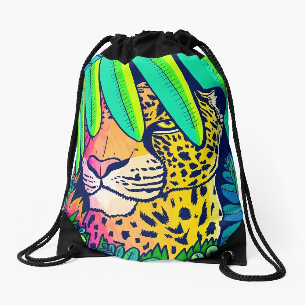 Jungle leopard Drawstring Bag