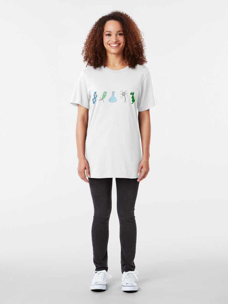 Alternate view of Cute Science - On White Slim Fit T-Shirt