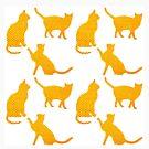 Goldene Katzen-Weiß von Yamy Morrell  Art and Design