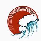 Ocean Wave Emblem im Gravurstil. von devaleta