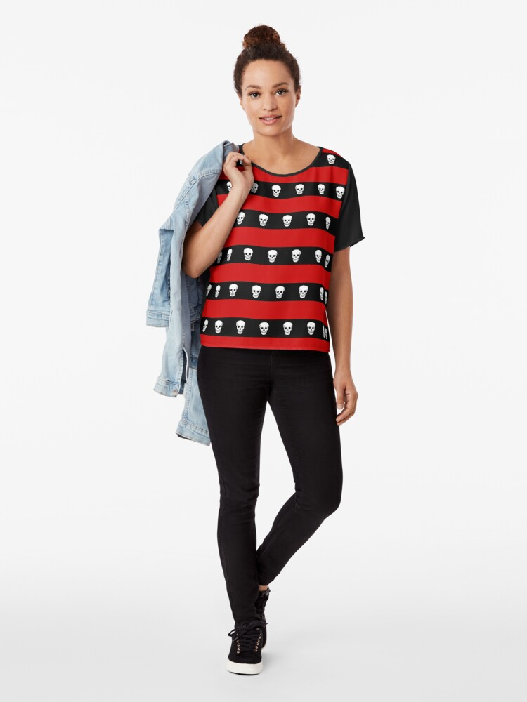 Alternate view of Skull Stripes Red Chiffon Top