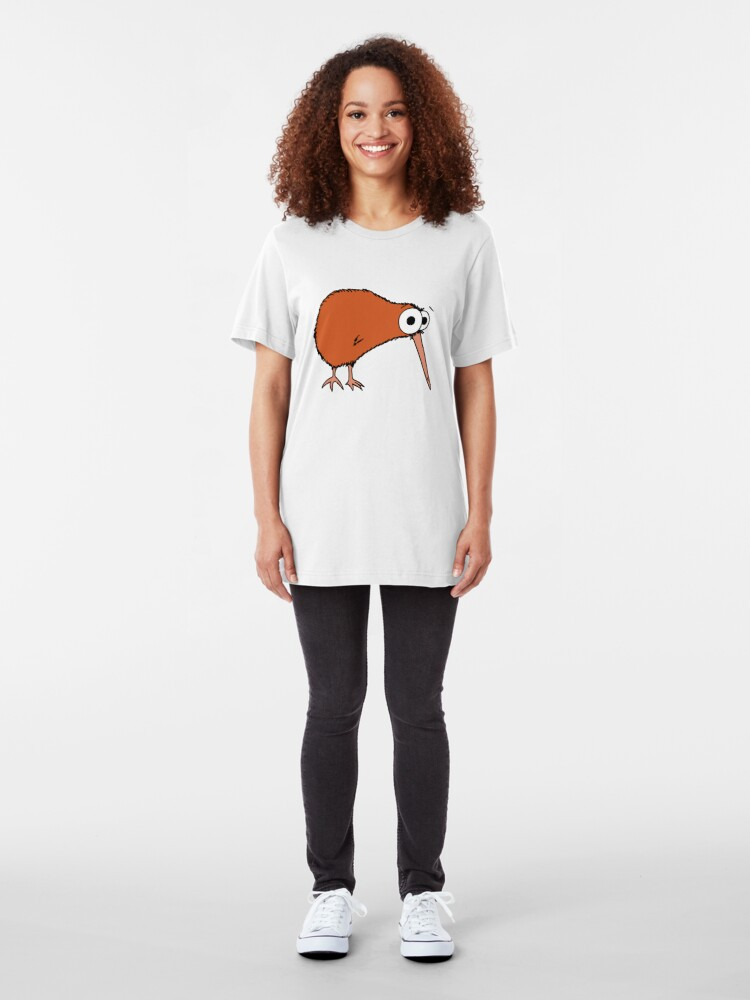 Alternate view of Cutie Kiwi (clock includes Maori numbers) Slim Fit T-Shirt