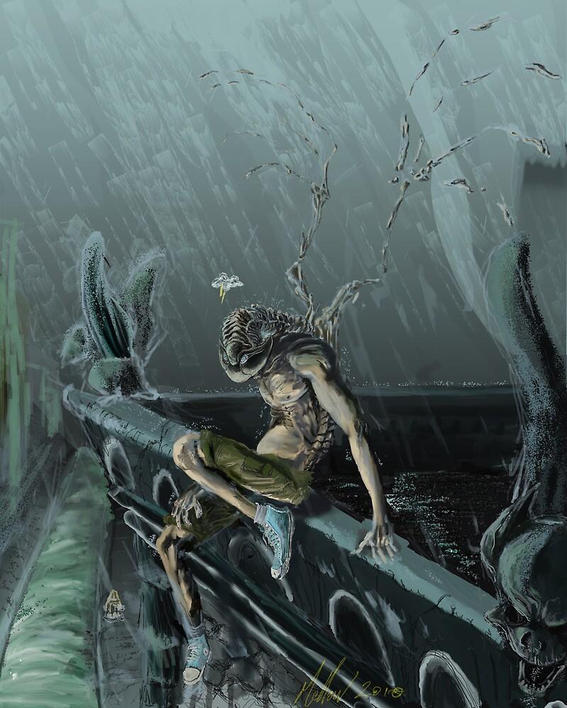 Trilobite Boy and Gargoyles by Glendon Mellow