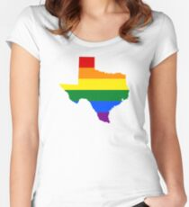 LGBT Flag of Texas  Women's Fitted Scoop T-Shirt