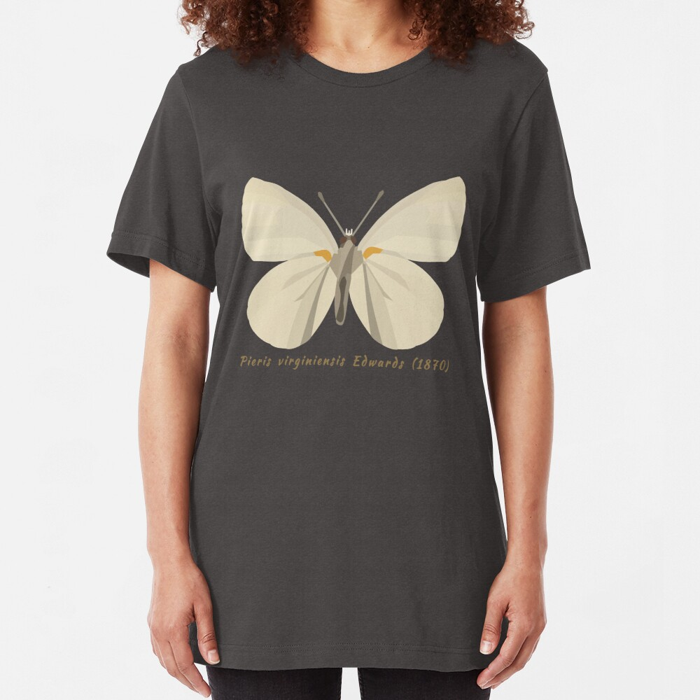 West Virginia White Butterfly Scientific Drawing  Slim Fit T-Shirt