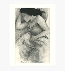 a sleeping charcoal Art Print