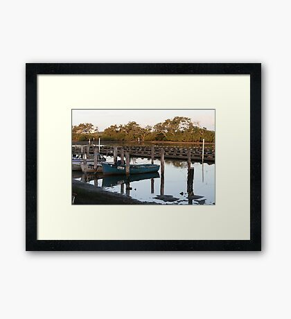 Fishing Boats & Oyster Leases at Tuncurry Framed Print