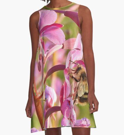 Bumblebee on Fireweed A-Line Dress