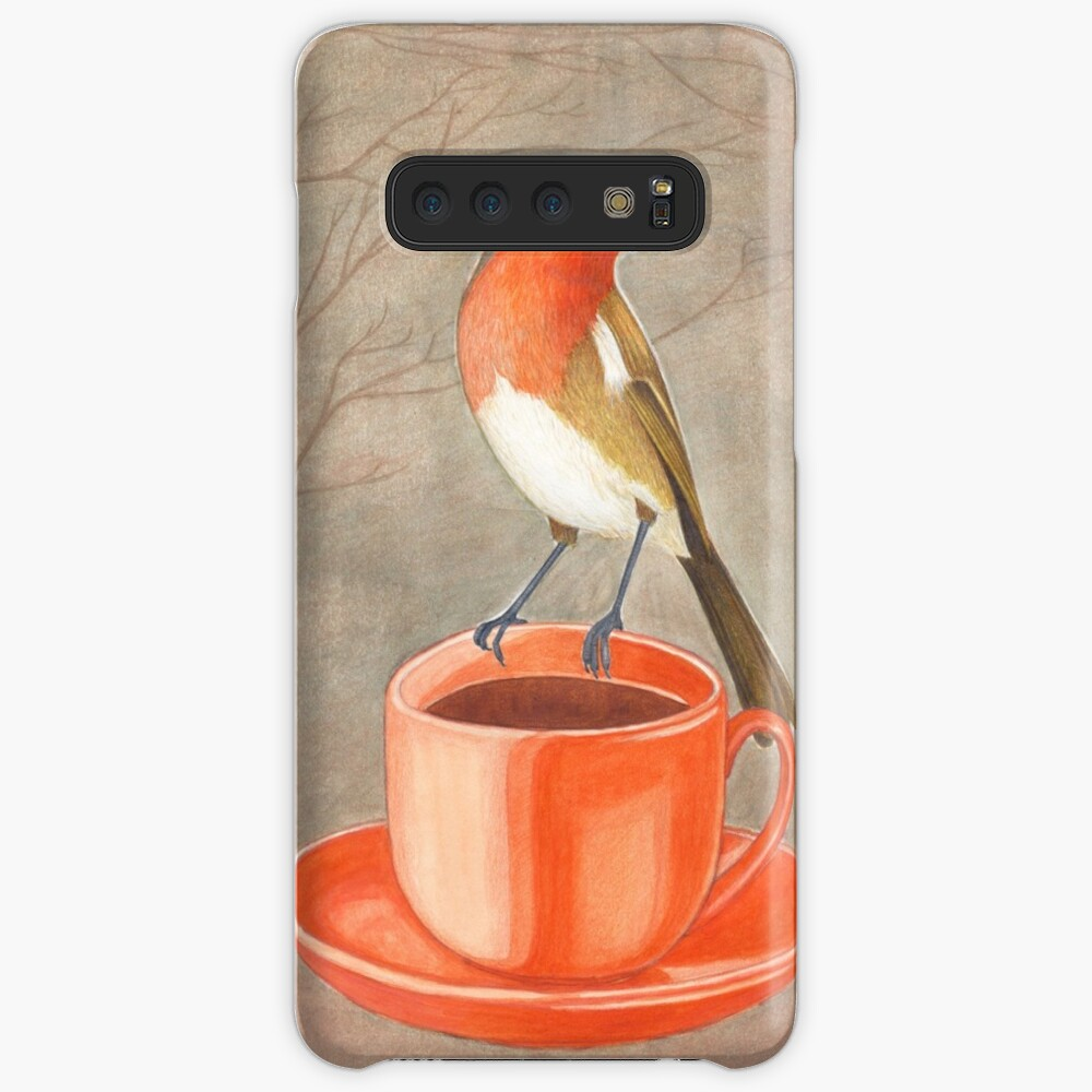 coffee loving robin bird Case & Skin for Samsung Galaxy