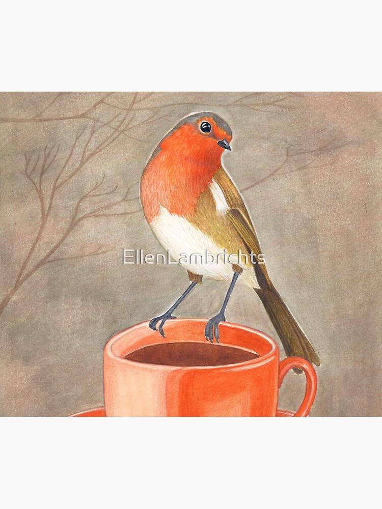coffee loving robin bird by EllenLambrichts