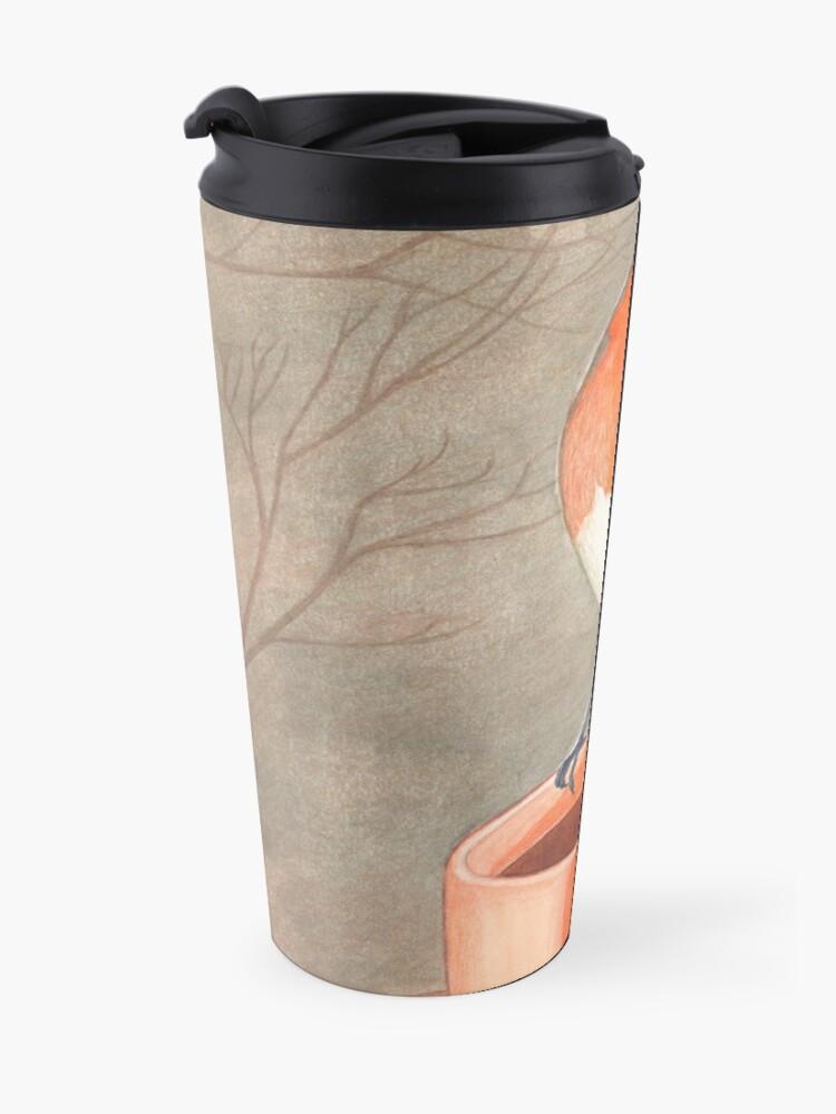 Alternate view of coffee loving robin bird Travel Mug