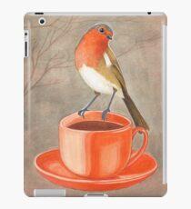 coffee loving robin bird iPad Case/Skin