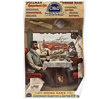Poster 1890s Pullman compartment cars and through trains Cincinnati Hamilton & Dayton Rail Road advertising poster 1894 Poster