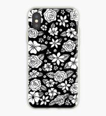 Schwarz Blumen iPhone-Hülle & Cover
