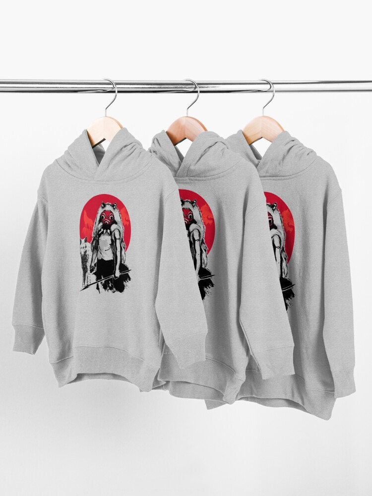 Alternate view of Wolf Girl sumi-e Toddler Pullover Hoodie