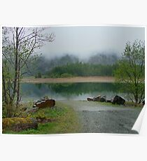 BUTTLE Lake in the Mist, Vancouver Island BC Canada Poster