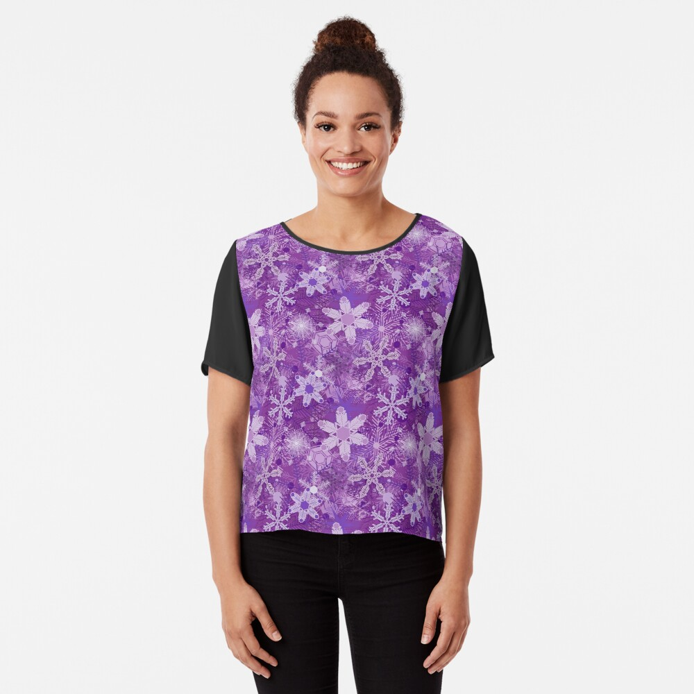 Snowflakes in Purples Chiffon Top