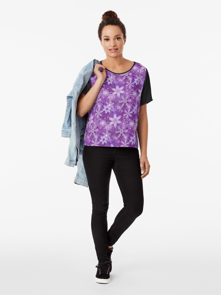 Alternate view of Snowflakes in Purples Chiffon Top