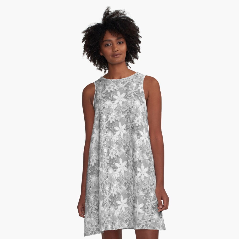 Snowflakes in Silvers A-Line Dress